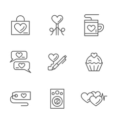 Romantic greetings flat line icons set vector image