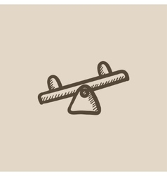 Seesaw sketch icon vector