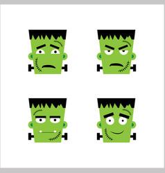 Set frankenstein facial emotions vector