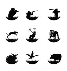 set hunter logo hunter man logo design vector image