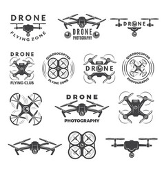 Set labels with different of drones vector