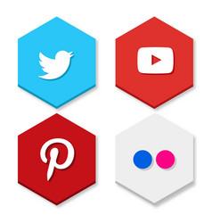 Set of flat design sale stickers of twitter vector