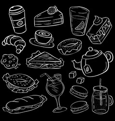 Set of hand drawn food and snack on chalkboard vector