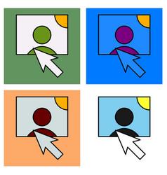 Set of web design elements picture mouse arrow vector
