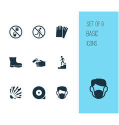 Sign icons set with dust mask explosive non vector