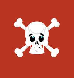 Skull and crossbones surprised emoji skeleton vector