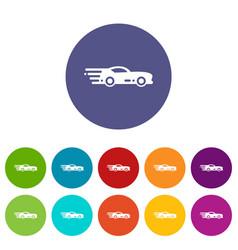 sport car icons set color vector image