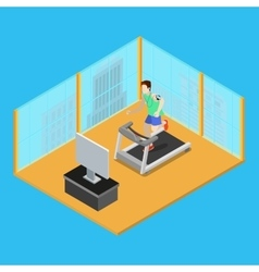Sporty man running on treadmill at home vector