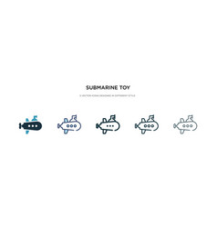 Submarine toy icon in different style two vector