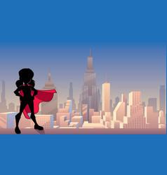 super girl city silhouette vector image