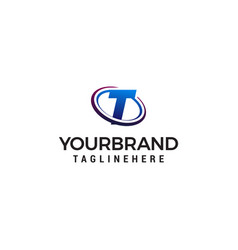 Swoosh letter t technology logo concept template vector