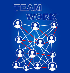 team work presentation slide with small icons vector image
