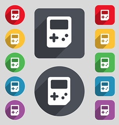 Tetris icon sign A set of 12 colored buttons and a vector image