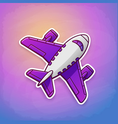 toy plane flying on sky background at sunrise vector image