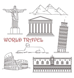 Travel landmarks of Italy Brazil Greece Africa vector image
