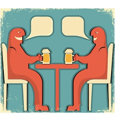 Two men drinking vector