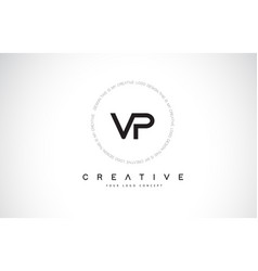 vp v p logo design with black and white creative vector image