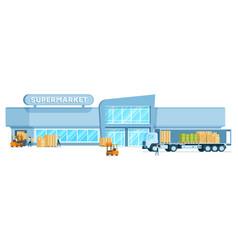 Warehouse truck unloading freight in supermarket vector