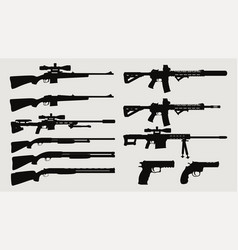 weapon silhouette side view set vector image