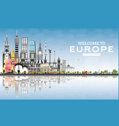 welcome to europe skyline with gray buildings and vector image