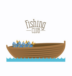 white background boat with bucket full of fish and vector image