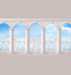 White marble balustrade and columns on balcony vector