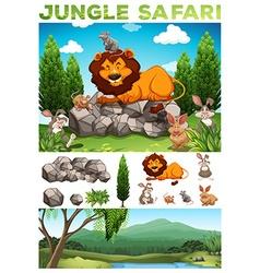 Wild animals in the jungle safari vector