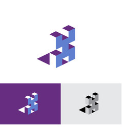 x letter isometric logo volumetric typographic cub vector image