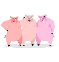 3 pigs Three piglets Funny farm animals Good vector image