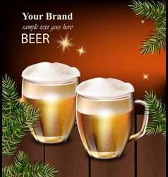 beer mugs realistic design winter decor vector image