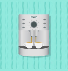 flat coffee maker kitchenware on the wall vector image vector image