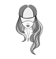 Lady in baseball cap vector image vector image