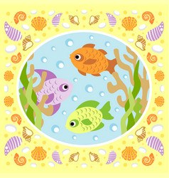 sea background card with fish vector image vector image