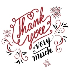 Thank you very much calligraphy vector image