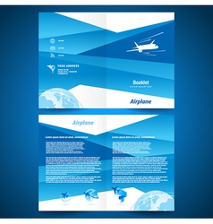 brochure folder airplane flight transportation vector image vector image