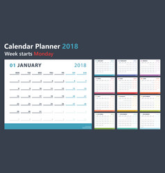 calendar planner for 2018 starts monday vector image vector image
