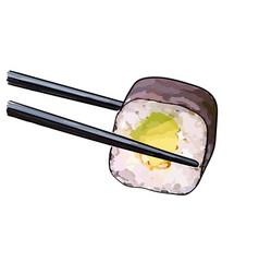 chopsticks holding sushi vector image