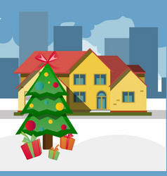 christmas trees outdoors at snowy day vector image