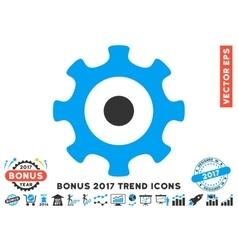 Gear Flat Icon With 2017 Bonus Trend vector image vector image