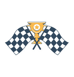 gold cup with engraved star and checkered flags vector image