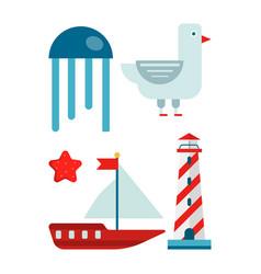 Marine themed set of isolated cartoon minimalistic vector
