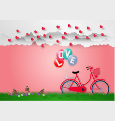 paper art style of balloons with text love and vector image