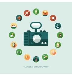 Set of modern flat design travel vacation vector image