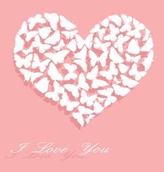 White heart made of butterflies vector