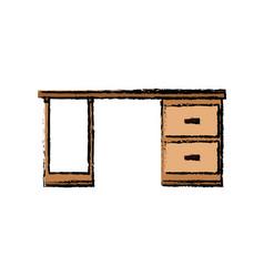 wooden desk drawers handle furniture office vector image
