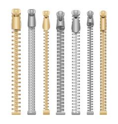 zipper realistic clothes zippers set vector image
