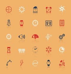Design time and direction line icons flat color vector image