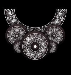 embroidery folk necklace on black vector image