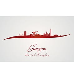 Glasgow skyline in red vector image