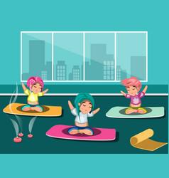 group of happy women doing yoga in a studio vector image vector image